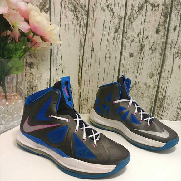 official photos 26d97 227b8 Lebron X black pink blue metallic high top sneaker